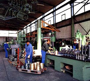 Piston diaphragm pumps being manufactured