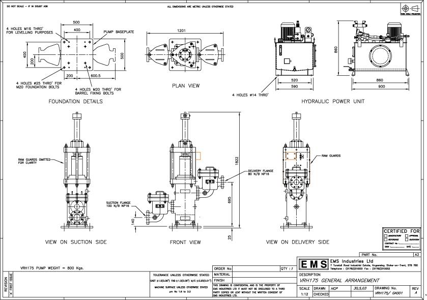 Hydraulic Ram Pump: EMS Ram Pump model VRH175