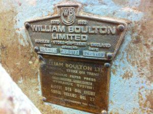 William Boulton Ltd Name Plate